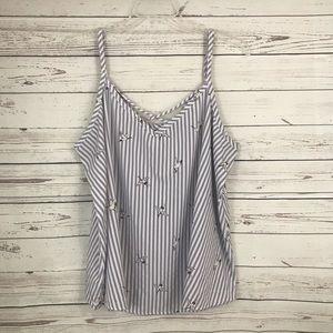 Torrid Gray & White Striped Crane Print Cam